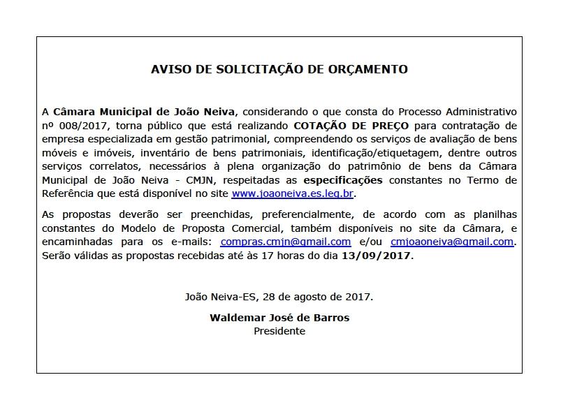 CÂMARA INICIA PROCESSO DE CONTRATAÇÃO DE EMPRESA ESPECIALIZADA EM GESTÃO PATRIMONIAL