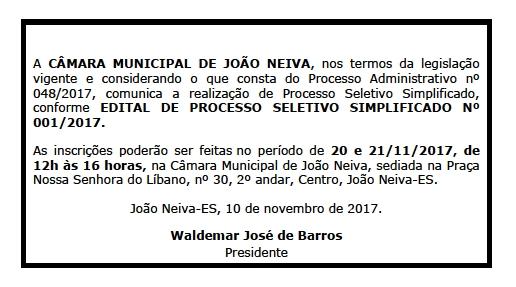 Câmara Municipal de João Neiva abre Processo Seletivo para contratação de Auxiliar de Serviços Gerais (Servente)