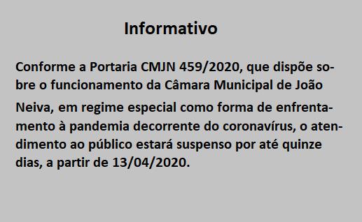 Confira o que dispõe a Portaria CMJN 459/2020